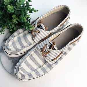 Sperry Womens Striped Gray White Slip On Shoes